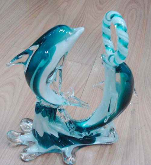 Glass Decoration - Dolphins