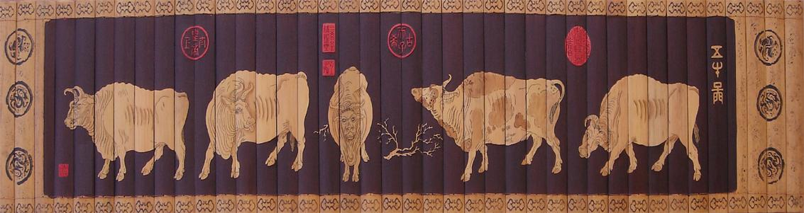 Bamboo Painting Scroll - Five Cows