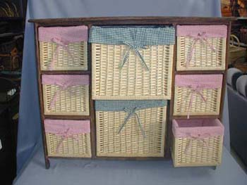 Wicker Storage Baskets in Wooden Shelf