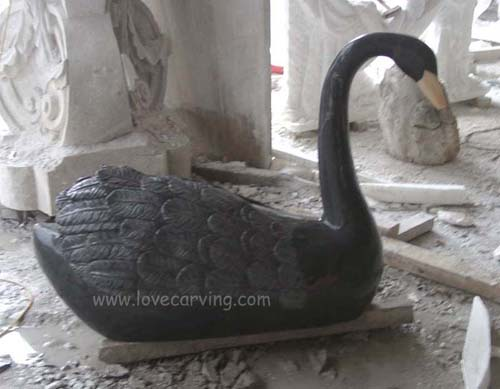 Marble Carving - Black Swan