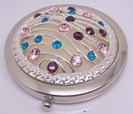 Alloy Beaded Makeup Mirror